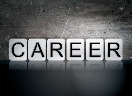 The word Career written in white tiles against a dark vintage grunge background. Imagens