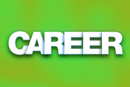 The word Career written in white 3D letters on a colorful background concept and theme.