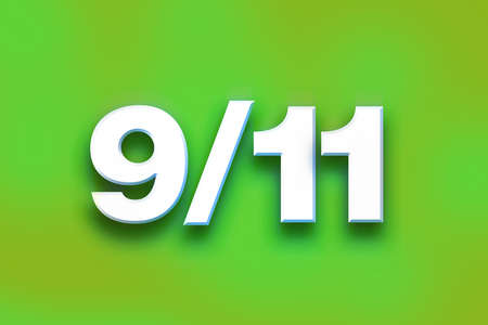 The word 9-11 written in white 3D letters on a colorful background concept and theme. Stock Photo