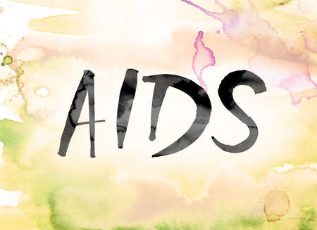 The word AIDS painted in black ink over a colorful watercolor washed background concept and theme.