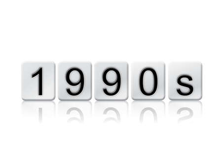 nineties: The word 1990s written in tile letters isolated on a white background. Stock Photo