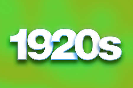 The word 1920s written in white 3D letters on a colorful background concept and theme. Imagens
