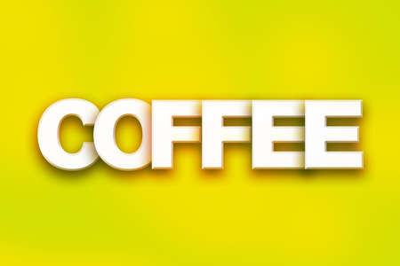 The word Coffee written in white 3D letters on a colorful background concept and theme.