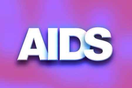 The word AIDS written in white 3D letters on a colorful background concept and theme. Stock Photo