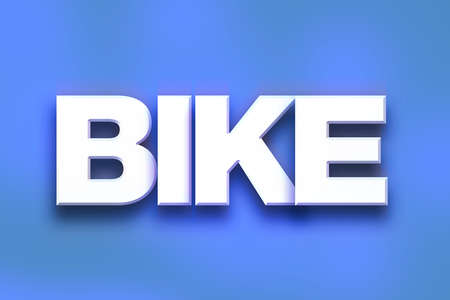 motorcross: The word Bike written in white 3D letters on a colorful background concept and theme. Stock Photo