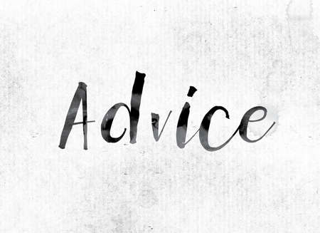 inform information: The word Advice concept and theme painted in watercolor ink on a white paper. Stock Photo