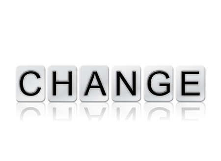 The word Change written in tile letters isolated on a white background.