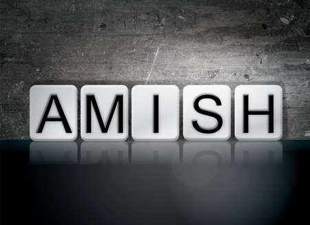 amish: The word Amish written in white tiles against a dark vintage grunge background.