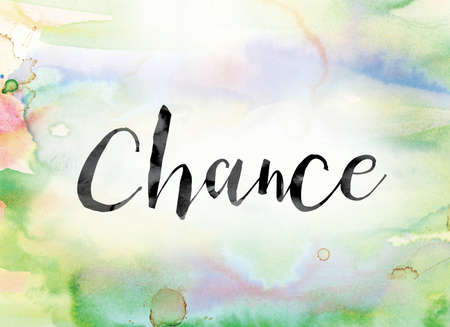 unplanned: The word Chance painted in black ink over a colorful watercolor washed background concept and theme. Stock Photo