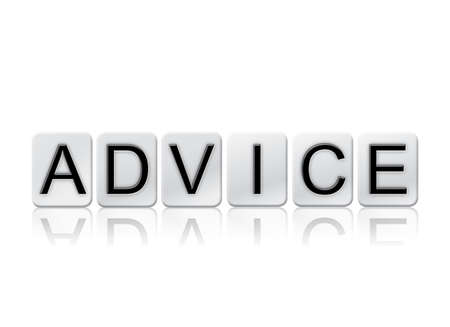 inform information: The word Advice written in tile letters isolated on a white background.