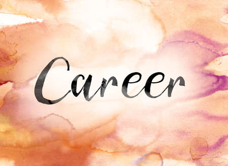 The word Career painted in black ink over a colorful watercolor washed background concept and theme.