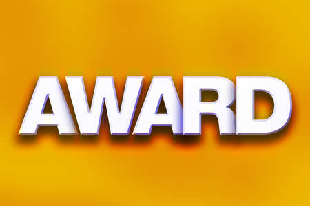 The word Award written in white 3D letters on a colorful background concept and theme.