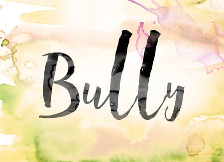 torment: The word Bully painted in black ink over a colorful watercolor washed background concept and theme. Stock Photo