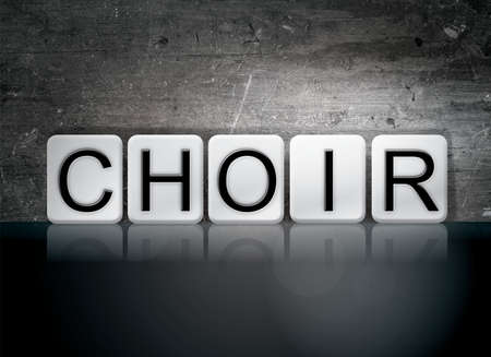 harmonize: The word Choir written in white tiles against a dark vintage grunge background. Stock Photo