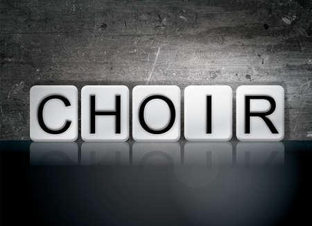 harmonize: The word Choir written in white tiles against a dark vintage grunge background. Stock Photo
