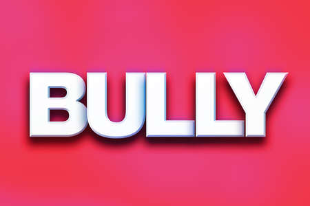 torment: The word Bully written in white 3D letters on a colorful background concept and theme.