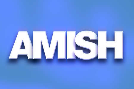 The word Amish written in white 3D letters on a colorful background concept and theme.