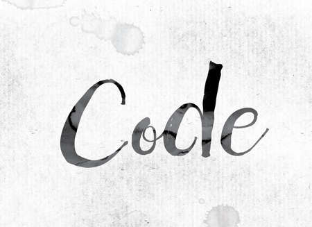 secret code: The word Code concept and theme painted in watercolor ink on a white paper. Stock Photo