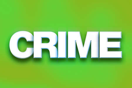 murder scene: The word Crime written in white 3D letters on a colorful background concept and theme. Stock Photo