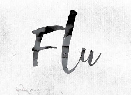 flu shots: The word Flu concept and theme painted in watercolor ink on a white paper.