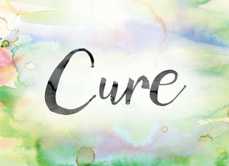 clinical trial: The word Cure painted in black ink over a colorful watercolor washed background concept and theme.