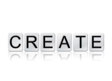 devise: The word Create written in tile letters isolated on a white background.
