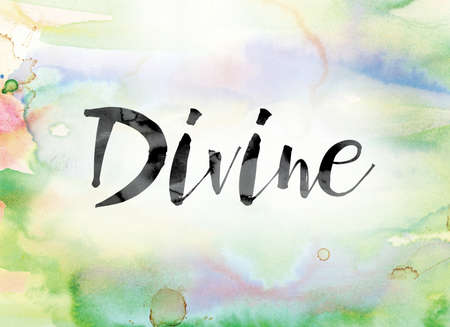 The word Divine painted in black ink over a colorful watercolor washed background concept and theme.