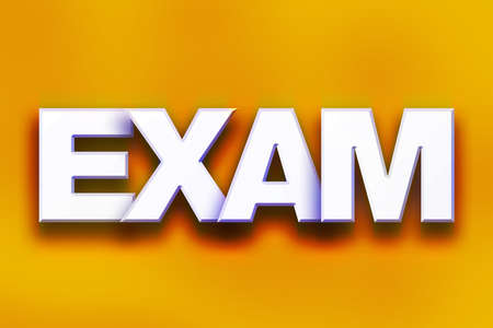The word Exam written in white 3D letters on a colorful background concept and theme. Stock Photo