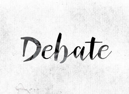 rebuttal: The word Debate concept and theme painted in watercolor ink on a white paper. Stock Photo