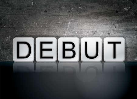 The word Debut written in white tiles against a dark vintage grunge background.