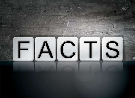 The word Facts written in white tiles against a dark vintage grunge background.