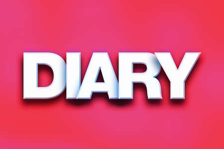 The word Diary written in white 3D letters on a colorful background concept and theme.