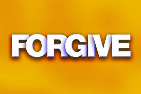 The word Forgive written in white 3D letters on a colorful background concept and theme.