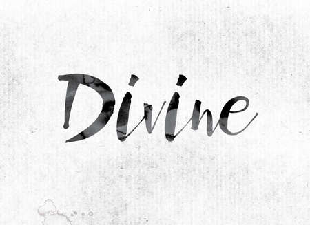 godlike: The word Divine concept and theme painted in watercolor ink on a white paper. Stock Photo