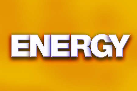 The word Energy written in white 3D letters on a colorful background concept and theme.