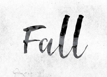 slump: The word Fall concept and theme painted in watercolor ink on a white paper. Stock Photo
