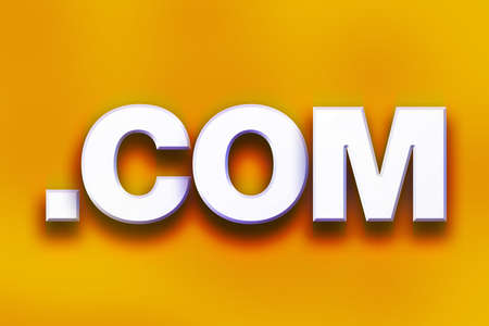 The word .Com written in white 3D letters on a colorful background concept and theme. Stock Photo
