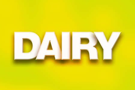The word Dairy written in white 3D letters on a colorful background concept and theme. Stock Photo