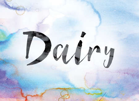 The word Dairy painted in black ink over a colorful watercolor washed background concept and theme. Stock Photo