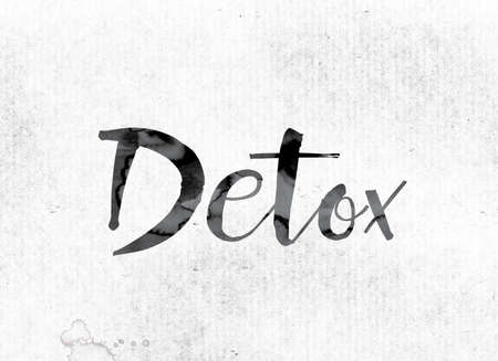 detoxification: The word Detox concept and theme painted in watercolor ink on a white paper.