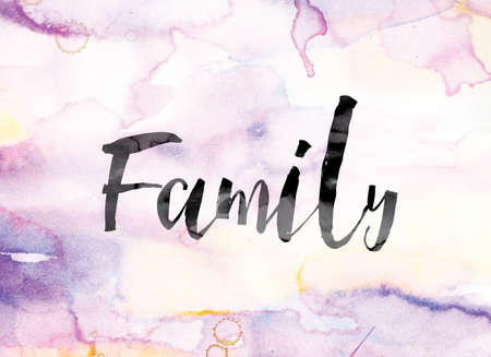 descendant: The word Family painted in black ink over a colorful watercolor washed background concept and theme.