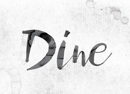 """Het woord """"Dine"""" -concept en thema geschilderd in aquarel inkt op een wit papier."""
