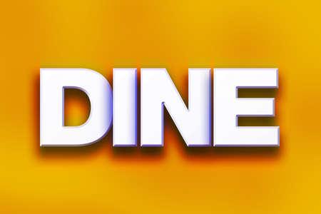 """Het woord """"dineren"""" geschreven in wit 3D brieven op een kleurrijke achtergrond concept en het thema. Stockfoto"""