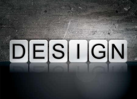 The word Design written in white tiles against a dark vintage grunge background.
