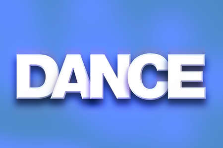 The word Dance written in white 3D letters on a colorful background concept and theme. Stock Photo