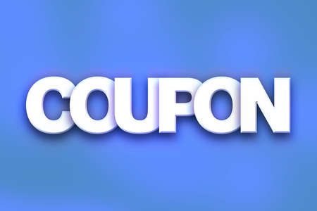 The word Coupon written in white 3D letters on a colorful background concept and theme.