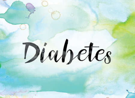 gestational: The word Diabetes painted in black ink over a colorful watercolor washed background concept and theme.