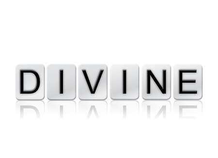 The word Divine written in tile letters isolated on a white background.