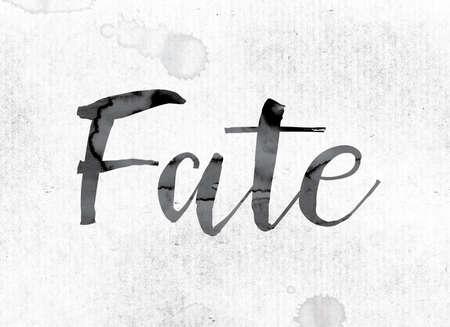 fate: The word Fate concept and theme painted in watercolor ink on a white paper. Stock Photo