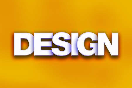 The word Design written in white 3D letters on a colorful background concept and theme. Stock Photo